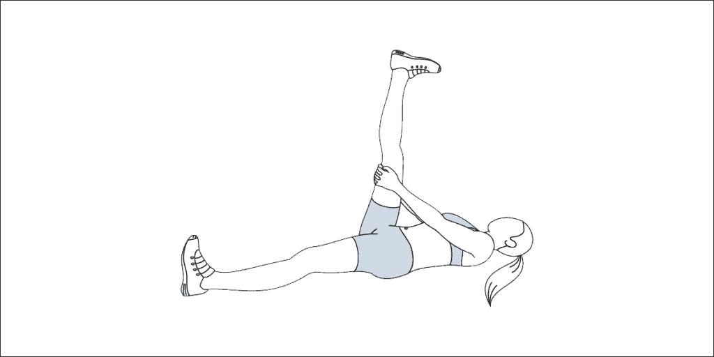 Self-performed hamstring stretch